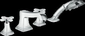 Hansgrohe - Metropol Classic - 4-lyukú peremre szerelhető kádcsaptelep kereszt fogantyúval -